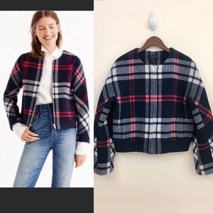 J. Crew Plaid Wool Bomber, EUC